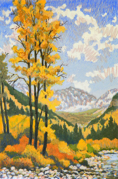 Leon Loughridge, 'Golden Sentinels (autumn foliage, aspen groves, mountain peaks, stream)', 2019
