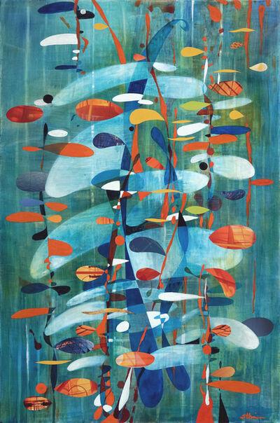 Sherry Tseng Hill, 'If Fibonacci Had A Farm - contemporary, science, math, abstract, organic, collage, bright, blue', 2019