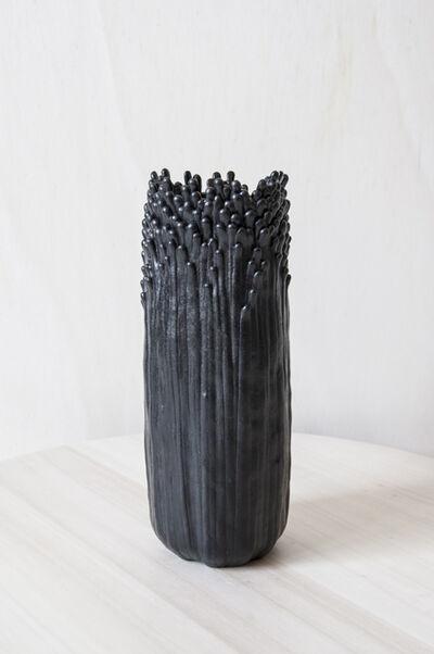 Cécile Bichon, 'Vase ascensionnel floral S noir d'encre au cœur noir brillant ', 2019