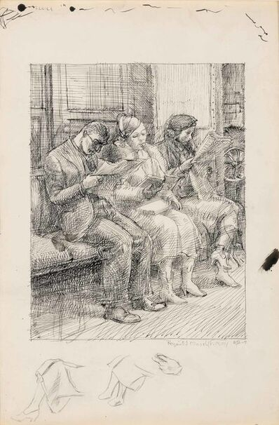 Reginald Marsh, 'Subway Train, Three People (Study for the Etching)', 1934