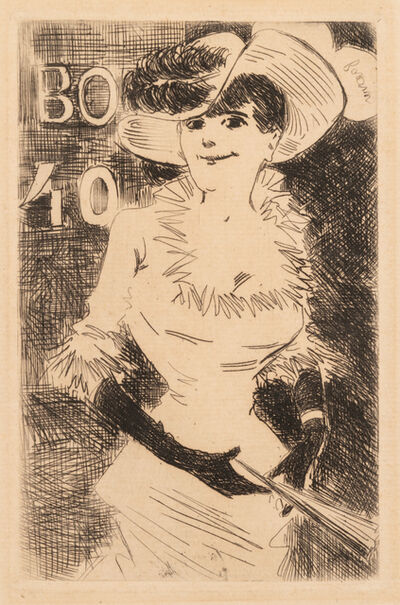 Jean-Louis Forain, 'A group of four works: Woman with a Candle, Woman with Fan, Untitled, and Untitled'
