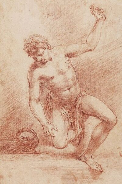 Attributed to Francesco Zuccarelli, 'A kneeling male nude'