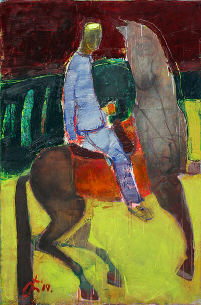 Serhiy Hai, 'Man and Horse in Field', 2019