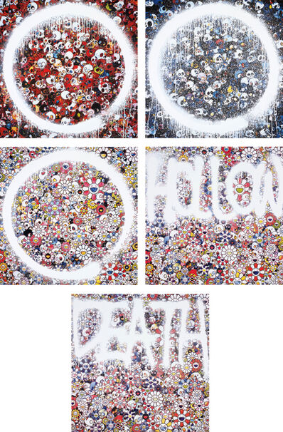 Takashi Murakami, 'Enso: Memento for Red; Memento Mori Red on Blue; Enso: Zen The Heavens; Flower HOLLOW; and DEATH Flower', 2015