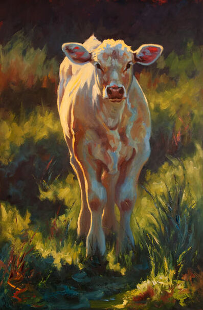 "Cheri Christensen, '""Fredrickburg Calf"" Impressionist style oil painting of  a white calf in green grass', 2019"
