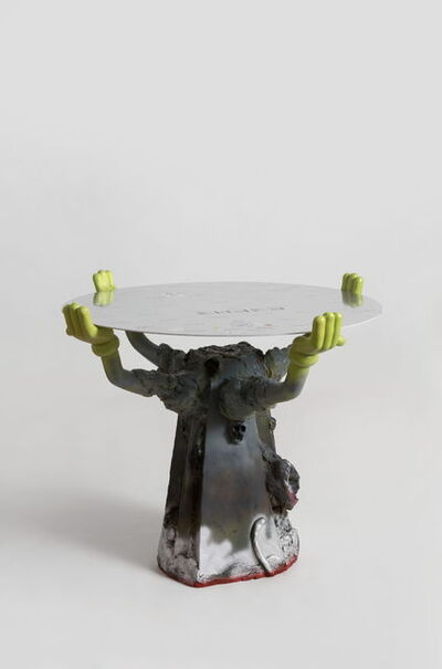 Zhou Yilun 周轶伦, ' Round Table with Cartoon Hands (Grey)', 2019