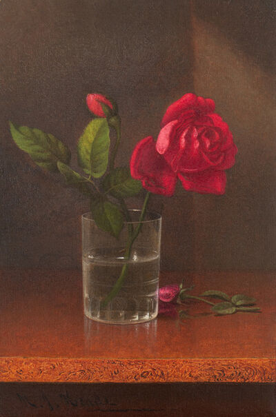 Martin Johnson Heade, 'Rose in a Glass (also called Red Rose and Buds)', ca. 1878-1904