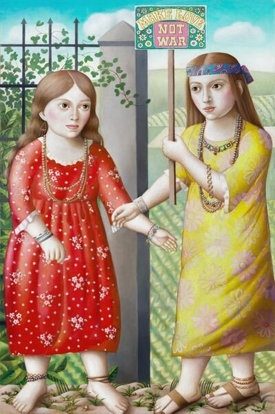 Amy Hill, 'Two Girls with Sign', 2018