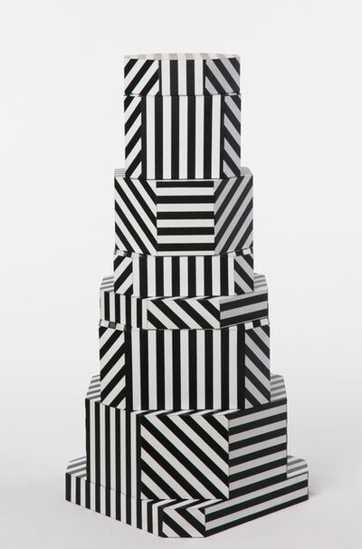 "Oeuffice, '""Ziggurat Tower"" set of stacking boxes, Black Stripes edition', 2012"