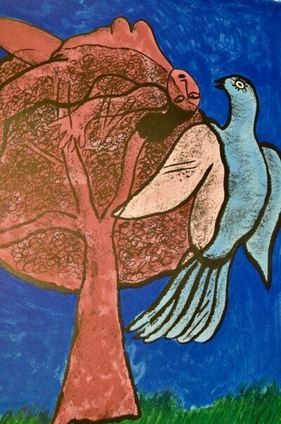 Corneille, 'L'arbre rose et l'oiseau bleu', ca. 1990