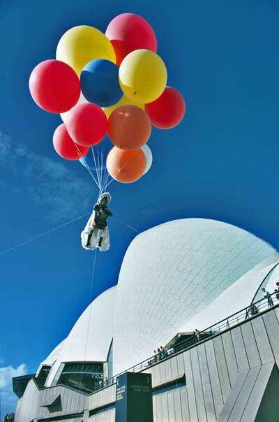 Unknown Artist, 'Charlotte Moorman performing Jim McWilliams's Sky Kiss, Sydney Opera House, Sydney, Australia, April 11, 1976', 1976