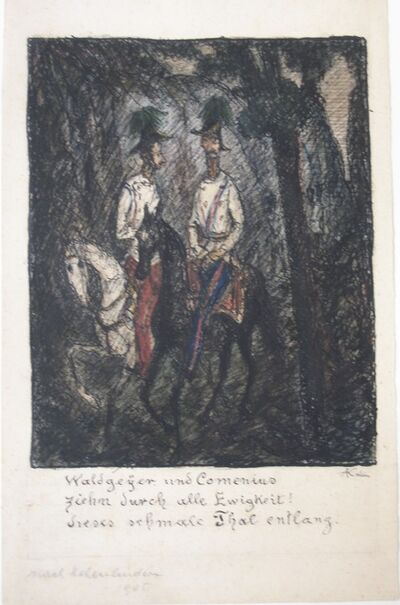 Alfred Kubin, 'Two horsemen (Waldgeyer and Comenius)', ca. 1915
