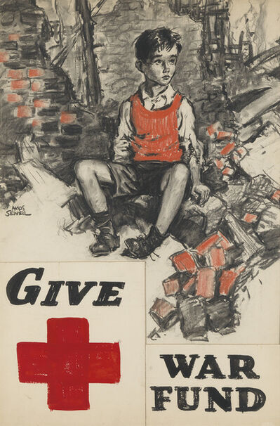 """Amos Sewell, '""""Red Cross / Give War Fund."""" Poster maquette for the Red Cross'"""