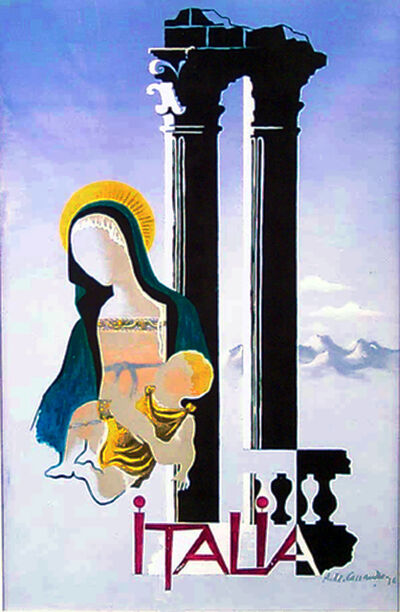 A.M. Cassandre, 'ITALIA - MADONNA & CHILD (ORIGINAL ART WORK / MAQUETTE)', 1936