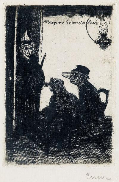James Ensor, 'Masques Scandalisés', 1895