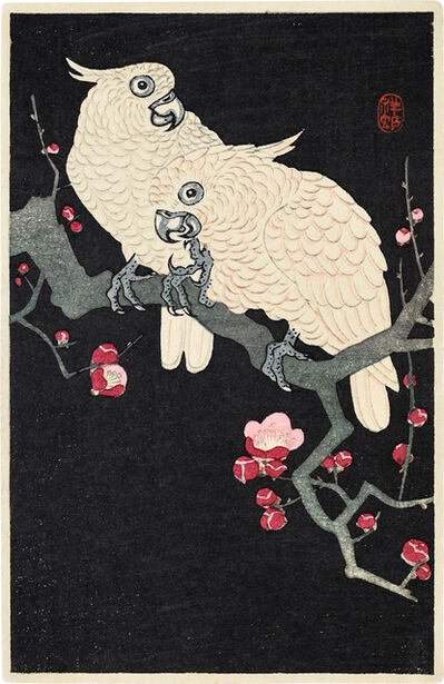 Ohara Koson, 'Two Cockatoo on a Branch of Blossoming Plum', ca. 1930s