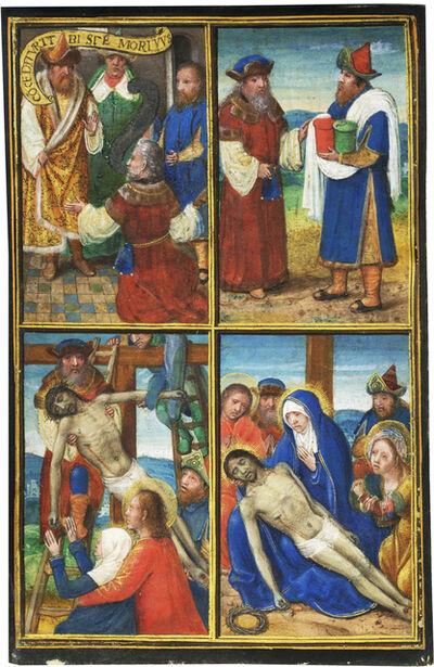 Simon Bening, 'Joseph of Arimathea and Nicodemus in the Passion of Christ; Single leaf from the Prayerbook of the Enriquez de Ribera family', c. 1508-1509