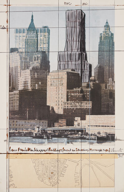 Christo, 'Lower Manhattan Wrapped Buildings, Project for 2 Broadway, 20 Exchange Place', 1990