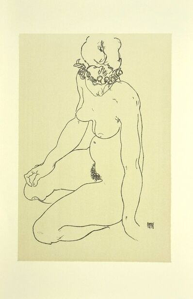 Egon Schiele, 'Kneeling Female Nude, Turning to the Right', 2007