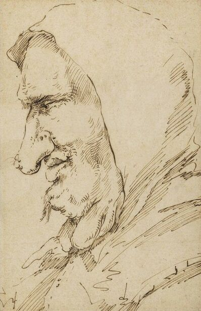 Jusepe de Ribera, 'Head of a man with growths on his neck, in profile to the left'