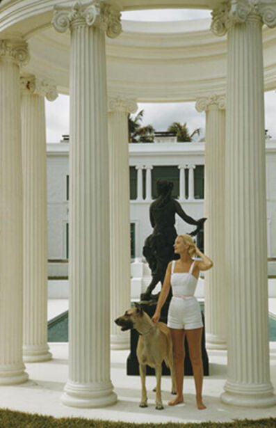 Slim Aarons, 'C.Z. Guest, 1955: The American socialite with a Great Dane at her ocean-front estate, Villa Artemis, in Palm Beach, Florida', 1955