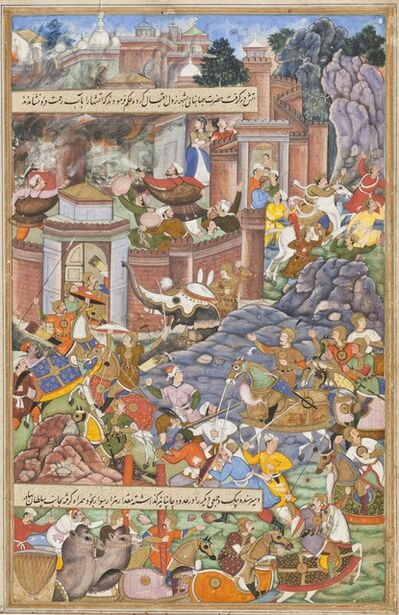 Dharmdas, 'Flight of Sultan Bahadur During Humayun's Campaign in Gujarat, 1535, Folio from an Akbarnama (History of Akbar)', ca. 1590