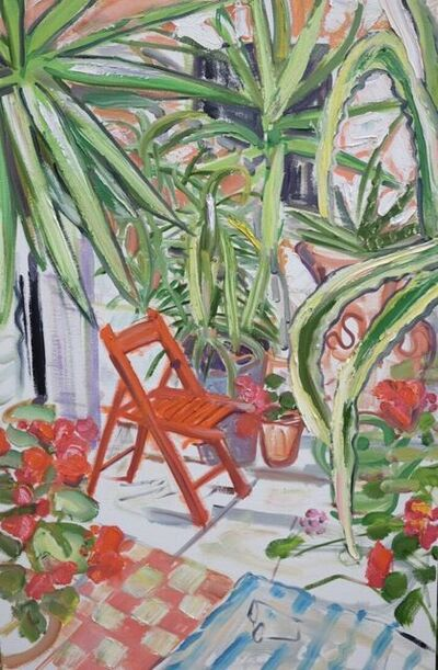 Janet Lance Hughes, 'Red Chair Among Spiky Plants', 2019
