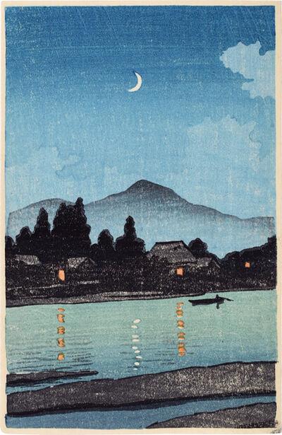 Kawase Hasui, 'Moonlit Village Along a River', ca. 1930s
