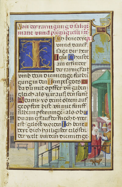 Simon Bening, 'Border with Samuel Brought before Eli', 1525-1530