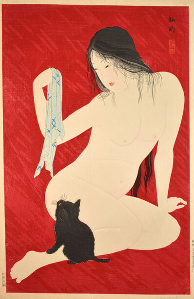 Hiroaki Takahashi (Shotei), 'Nude Playing with Cat', 9800