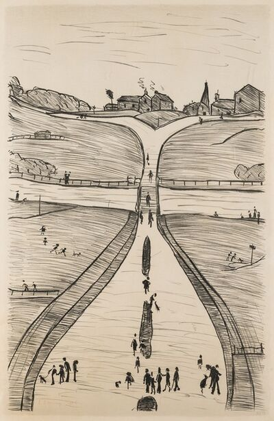 Laurence Stephen Lowry, 'Village on a Hill', 1966