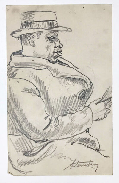 harry sternberg, 'Seated Man with Hat and Coat', circa 1940