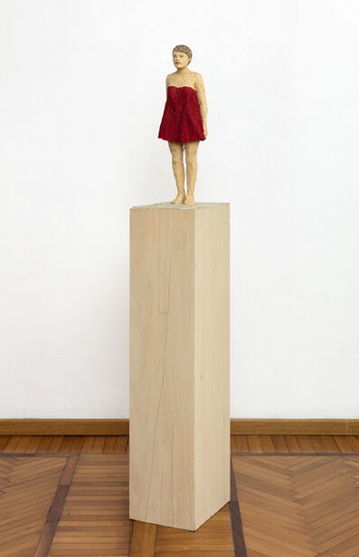 Stephan Balkenhol, 'Woman with red dress', 2019