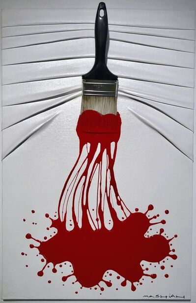 "Efraim Mashiah, '""Let's Paint"" small, Red Splash On White', 2019"