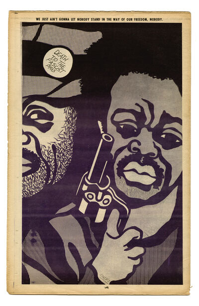 """Emory Douglas, '""""We just ain't gonna let nobody stand in the way of our freedom, nobody.""""', 1970"""