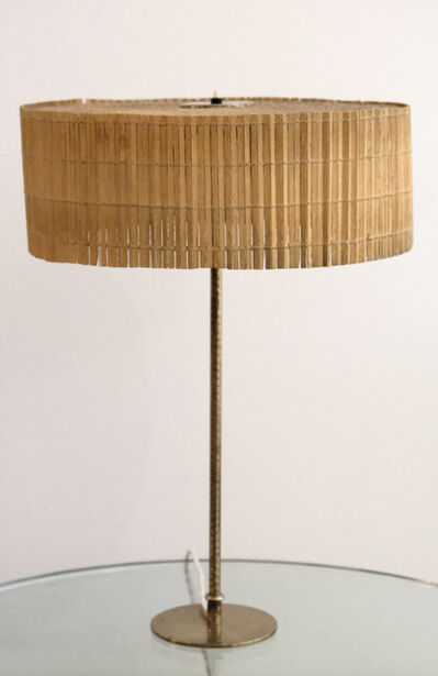 Paavo Tynell, 'Table lamp in brass and original rattan shade', ca. 1950