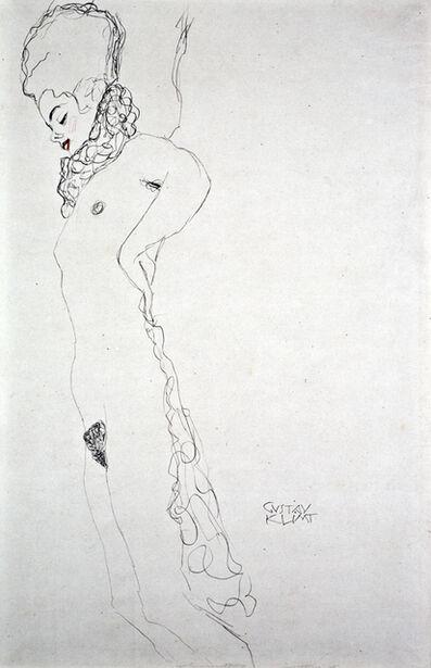 Gustav Klimt, 'Reclining Nude with Ruffles [Fünfundzwanzig Handzeichnungen]', 1919