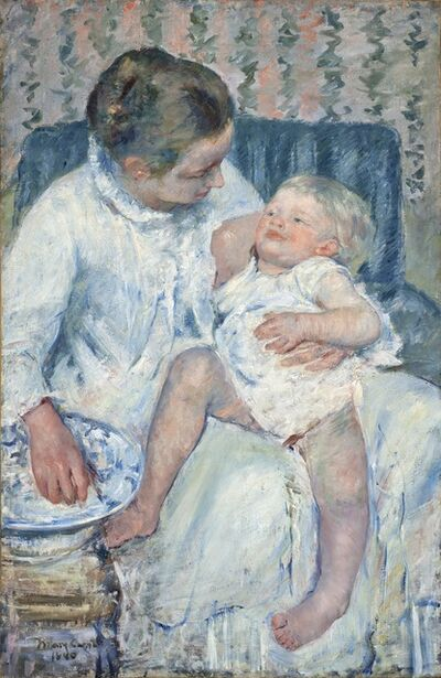 Mary Cassatt, 'Mother About to Wash Her Sleepy Child', 1880