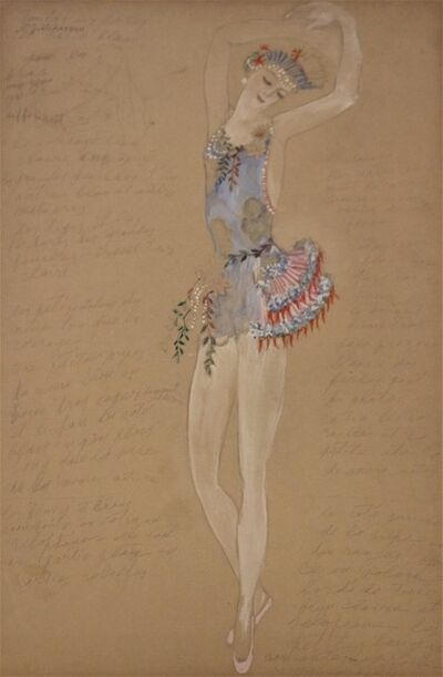 Natalia Goncharova, 'Costume for a Ballerine Dancer by Natalia Gontcharova, Watercolor and Pencil', ca. 1916