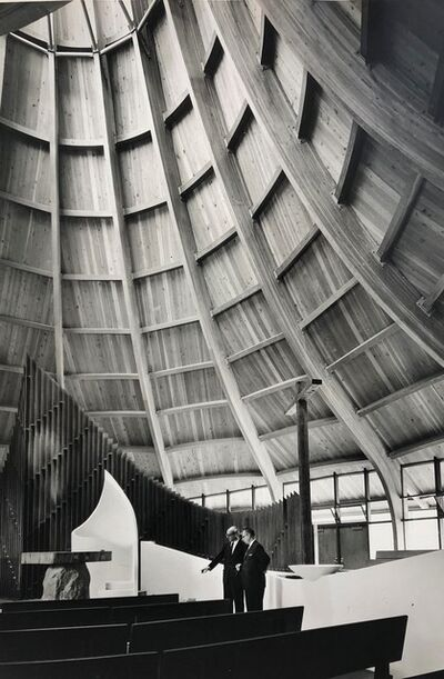 Pedro E. Guerrero, 'United Church of Rowayton, Interior with Josesph Salerno, Rowayton, CT (Joseph P. Salerno, Architect)', 1962