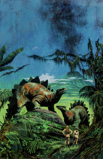 Don Punchatz, 'Dinosaurs and volcano. Jurassic park like image', 1969