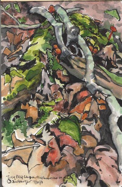 Carolyn Newberger, 'Mycena Mushrooms on a Log', 2018