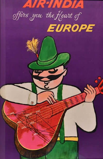 Vintage Travel Poster, 'Air-India Offers You the Heart of Europe', c. 1950's