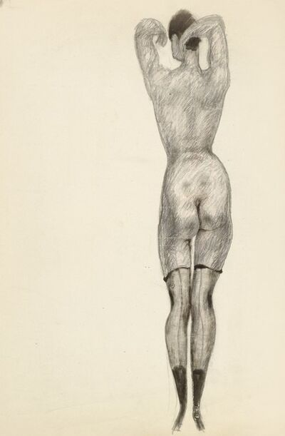 Alfons Walde, 'Nude from the Back with Half Stockings', ca. 1919