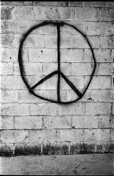 Jim Marshall, 'Peace brick wall, New York', 1962