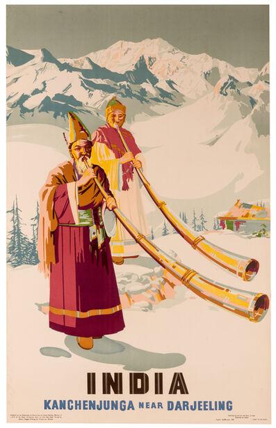 Vintage Travel Poster, 'Kanchenjunga Near Darjeeling', 1958