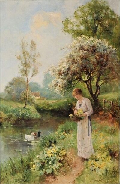 Ernest Walbourn, 'Young Woman Picking Spring Flowers', 19th Century