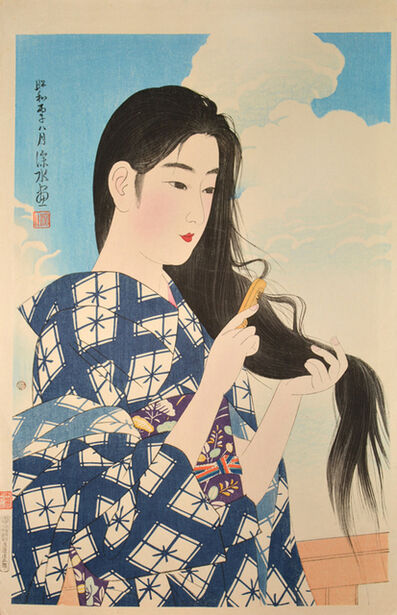 Itō Shinsui, 'After Washing Her Hair', 1936
