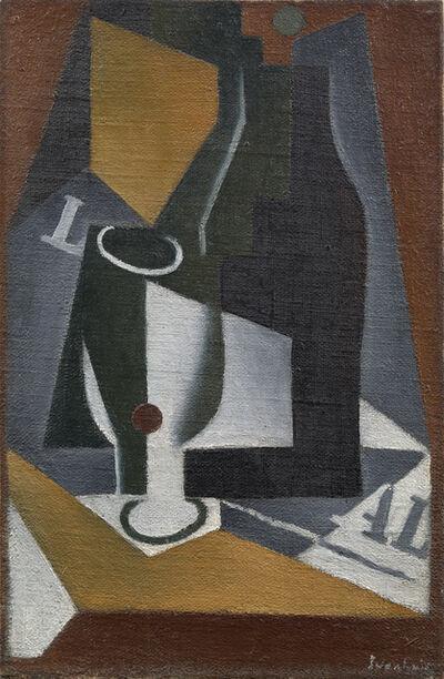 Juan Gris, 'Bouteille, verre et journal', 1918