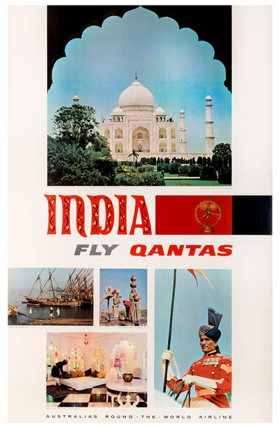 Vintage Travel Poster, 'India, Fly Qantas', 1965